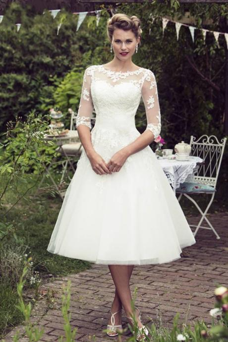 Illusion Lace Appliqués A-line Tea-Length Wedding Dress with Mid-Length Sleeves