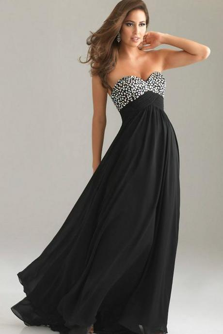 Prom Dress , Black Chiffon Prom Dress , Beading Prom Dress , Long Prom Dress , Custom Made Prom Dress