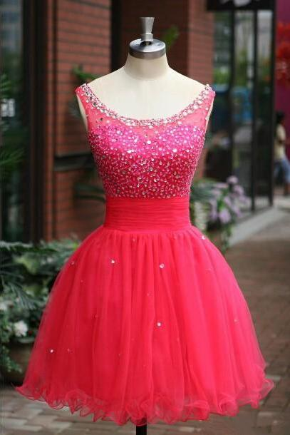 Red Prom Dress , Mini Prom Dress , Shiny Prom Dress , Puffy Prom Dress , O-Neck Prom Dress , Cute Party Dress , Custom Made Prom Dress