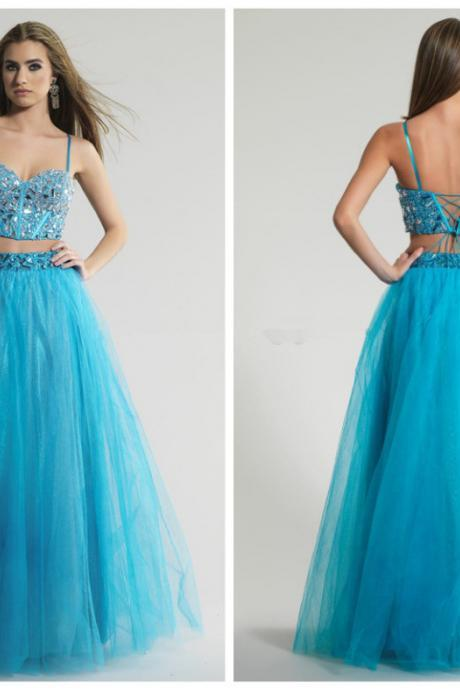 Two Pieces Prom Dress , Beading Prom Dress , Long Prom Dress , Sexy Prom Dress , Elegant Prom Dress , Custom Made Prom Dress