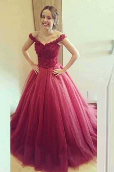Burgundy Prom Dresses , Lace Top Prom Dresses , Puffy Skirt Prom Dresses , V-Neck Prom Dresses , Tulle Prom Dresses , Custom Made Prom Dresses