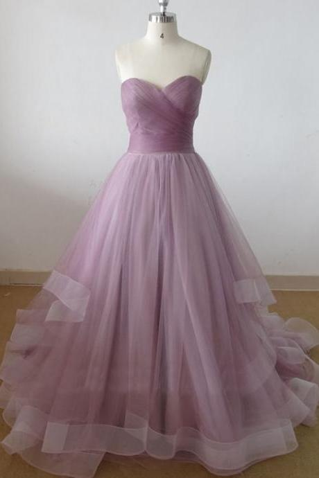 Long Tulle Prom Dresses ,Purple Prom Dresses , Elegant Tulle Prom Dresses , Sweetheart Prom Dress , Beautiful Party Dress , Faashion Evening Dress .