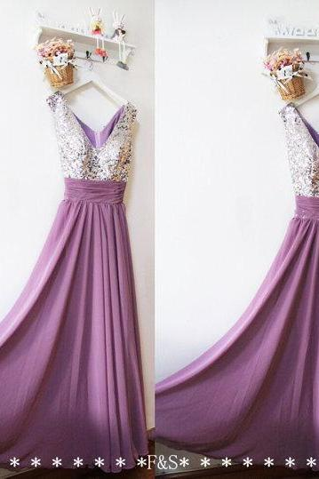 Purple Dress , Silver Sequin Top Prom Dress , Sexy V-neck Prom Dress , Long Dress , Free Custom Made Dress