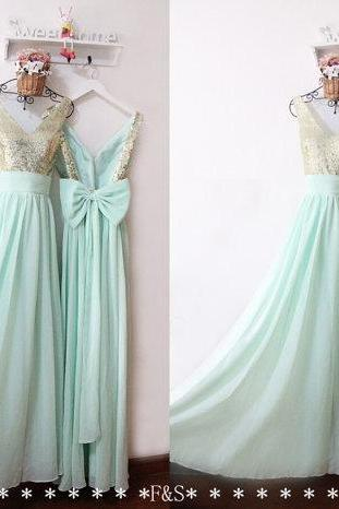 Mint Green Dress , Sequin Top Prom Dress , Sexy Back Prom Dress , Big Bow Prom Dress , V-Neck Prom Dress , Free Custom Made Dress