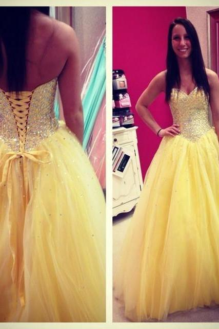 Yellow Dress , Bright Yellow Dress , Shiny Prom Dress , Bubble Dress , Beading Prom Dress , Beautiful Prom Dress , Free Custom Made Dress