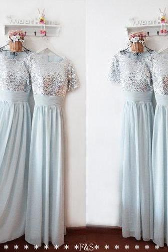 Sequin Bridesmaid Dress , Short Sleeves Bridesmaid Dress , Silver Dress , Sequin Prom Dress , Free Custom Made Dress