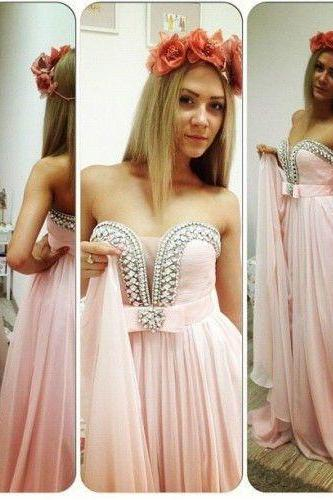 Pink Strapless Sweetheart Beaded A-line Long Prom Dress, Evening Dress, Free Custom Made Dress