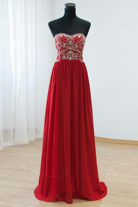 Beaded Embellished Red Sweetheart Neckline Floor Length Chiffon A-Line Prom Dress