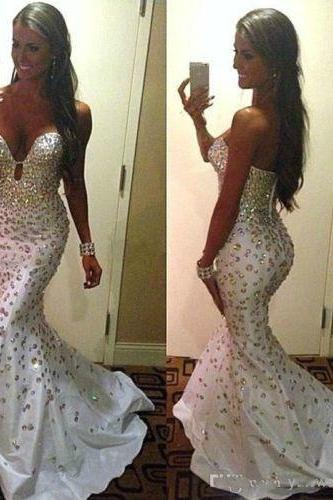 New Prom Dress , Stunning Prom Dress , White Prom Dress , All Crystals Shiny Dress , Sexy Mermaid Prom Dress , Free Custom Made Dress