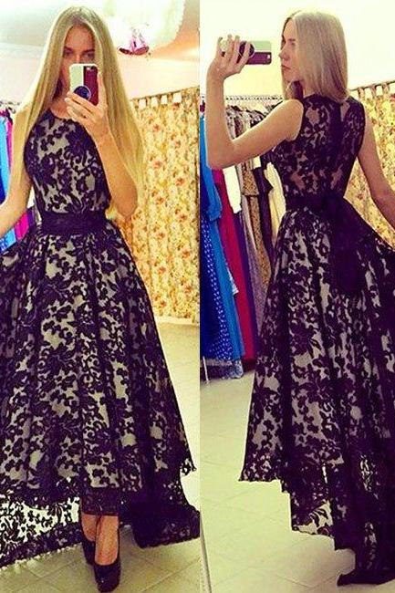 Black Lace Dress , Lace Prom Dress , Black Prom Dress , Amazing Prom Dress , Sexy See Through Back Dress , Long Prom Dress , Free Custom Made Dress