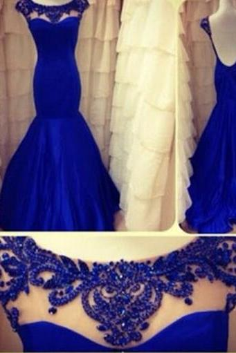 Amazing Prom Dress , Royal Blue Prom Dress , Sexy Mermaid Prom Dress , Blue Crystal Prom Dress , Long Blue Dress , Free Custom Made Prom Dress