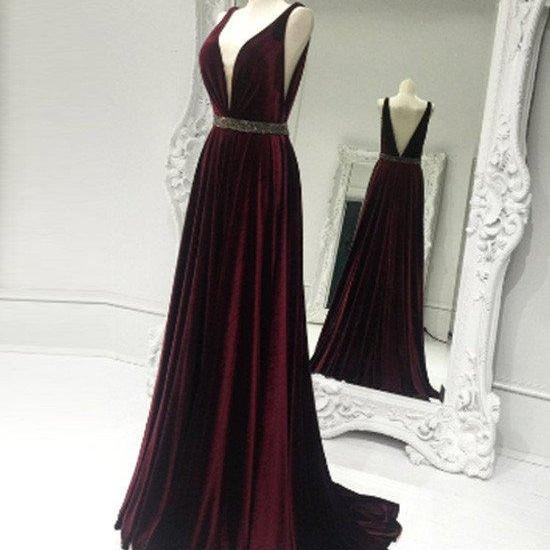 Velet Prom Dress , Long Prom Dress , Elegant Prom Dress , New Prom Dress