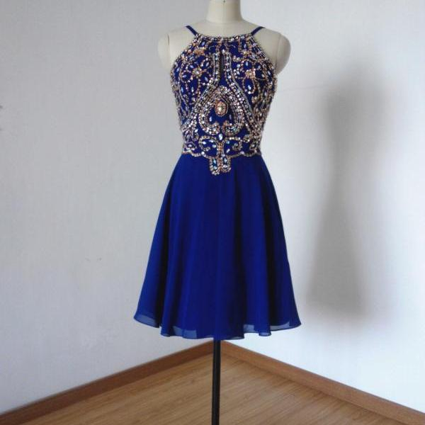 Short Prom Dress , Blue Prom Dress , Shiny Prom Dress , New Prom Dress