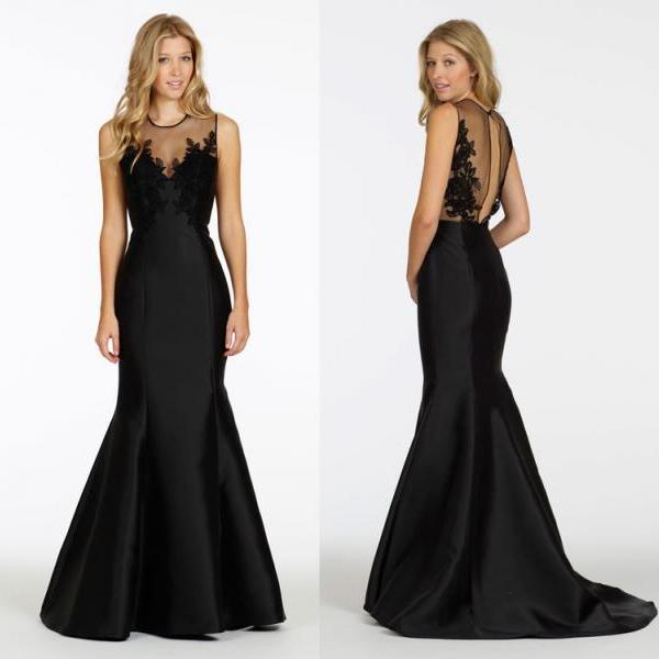 2016 New Black Satin Evening Party Dress, Sexy Sheer Back Appliques Tulle Back , Black Dress, Long Dress,Prom Dress