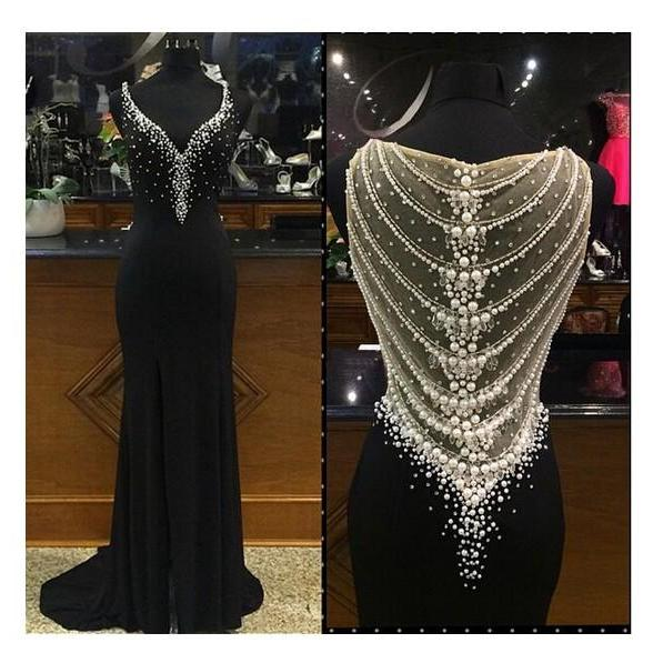Black Prom Dress, Sexy Deep V-Neck Prom Dress, Sheer Champagne Tulle Back Pearls Beads Prom Dress, Floor Length Long Prom Dress, Sexy Front Split Prom Dress
