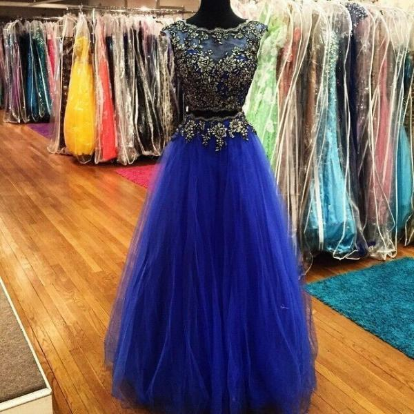 Two Pieces Royal Blue Prom Dress, Tulle Skirt Prom Dress, Floor Length Prom Dress, Full Crystal Beading Top Prom Dress, Free Custom Made Prom Dress