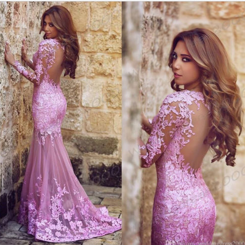 Fashion Purple Long Sleeves Prom Dresses , Elegant Appliques Prom Dresses , See Through Back Sexy Mermaid Prom Dresses , Floor Length Long Prom Dresses , Free Custom Made Prom Dresses