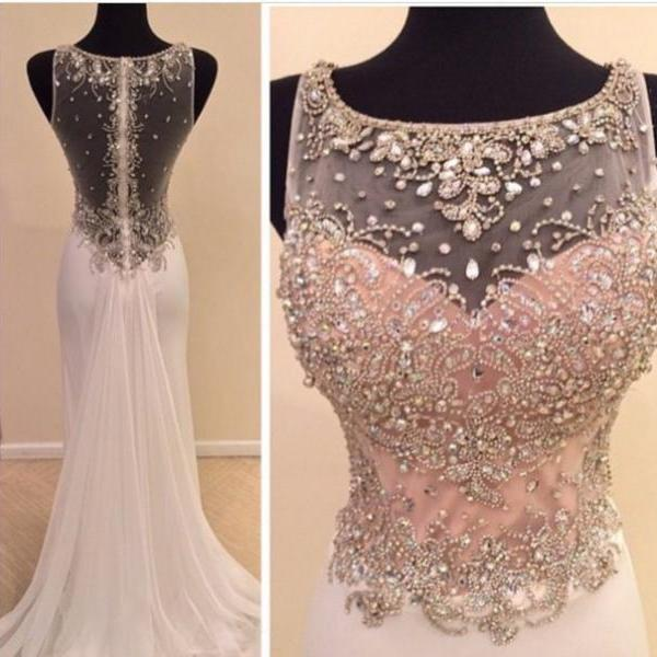 O-Neck Prom Dresses , Shiny Beading Prom Dresses , Sexy See Through Back Prom Dresses , Floor Length Long Mermaid Prom Dresses , Free Custom Made Prom Dresses