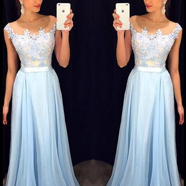 Sheer Neck Sky Blue Prom Dresses , O-Neck A-Line Floor Length Long Prom Dresses , Appliques Prom Dresses , Free Custom Made Prom Dresses