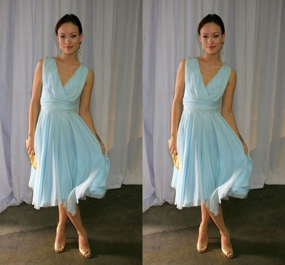 Sky Blue Prom Dress, Sexy V-Neck Tulle Prom Dress, Tea Length Prom ...